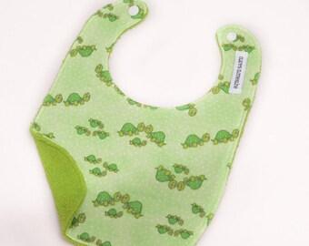 Baby Bib - Green Turtles Bib - Ready to Ship