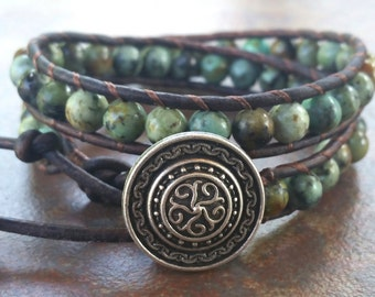 Leather Wrap Bracelet, African Turquoise, 2x Leather Wrap, Beaded Bracelet, Mystical, leather wrap bracelets