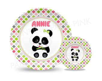 """Panda Bear Personalized Thermosaf Polymer 10"""" Plate, 9"""" Bowl or 2 Piece Set 