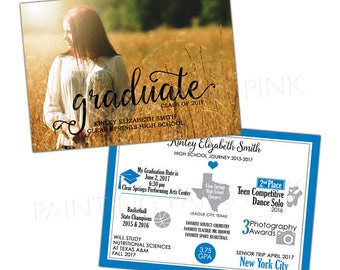 Class of 2017 GRADUATE Year In Review Photo Announcement or Invitation 5x7 | Customized | Printable or Professionally Printed | Infographic