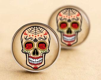 Sugar Skull Cufflinks - Steel Silver, Web, Halloween Day of the Dead, Rockabilly Cufflinks, Tattoo Cufflinks, Sugarskull, Wedding, Groom