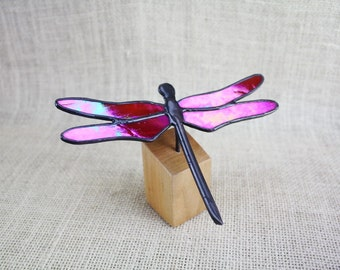 Stained Glass Dragonfly Sculpture on Wood Base, Red Iridescent