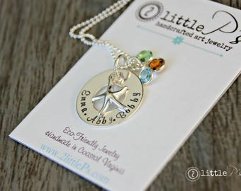 Beachy Mom Jewelry  Custom Sterling Silver Hand Stamped Seaside Infinity Necklace