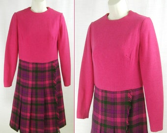 Vtg 60s-70s Pink top with Pink & Purple plaid skirt HARRODS / PETER COLLINS Mayfair Wool One-piece Dress
