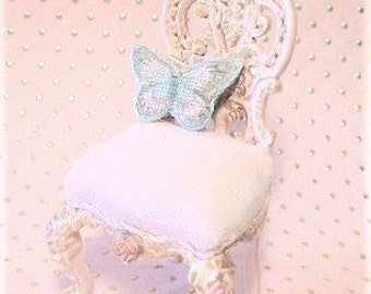 Hand-Painted Tapestry French Butterfly Pink Fairy Tale Child's Chair - Jill Dianne Dollhouse Miniature