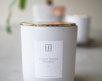 Three Silent Trees   Clear water Retreat soy candle   White/Gold XL Tumbler