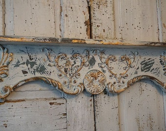 Ornate shelf wall hanging white w/ slate blue distressed shabby cottage chic weathered gold finish display home decor anita spero design