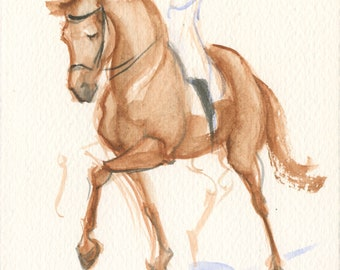 Dressage Horse Art, Equestrian Painting, Building Engagement by Anna Noelle Rockwell