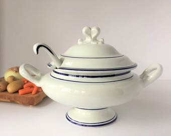 Large Soup Tureen With Ladle, Vintage White Tureen With Blue Stripes, French Country Provencal Kitchen Decor, Hand Painted in Portugal