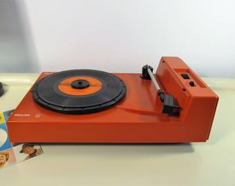 Vintage Record Player, Retro Rare PHILIPS Type 5120D-00 Music Vinyl lp Working Record Player 33,45 rpm Orange Philips 70s