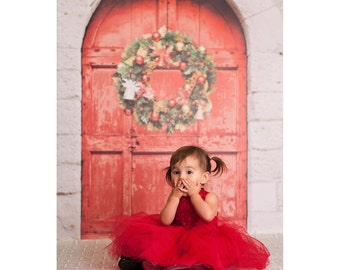 Red Door Wreath - Vinyl Photography Backdrop Floordrop Prop