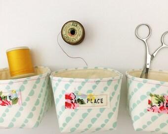 Pale blue mini fabric box - hand stamped label - neon orange detailing - fabric basket - fabric storage box - modern pastels - gift for mum