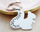 Customized Squirrel Keychain - Hand Stamped Name Key Ring - Aluminum Personalized Squirrel Keychain