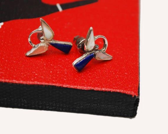 Sterling Angel Stud Earrings -Blue Lapis gemstone -White mother of pearl - pierced earring