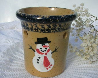Vintage 1995 Pottery Bath & Body Snowman Christmas Candle Luminary Tea Light