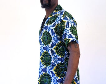 70s African Dashiki Shirt, Men's African Shirt, Bermuda Shirt, African Men's Shirt, Green & Blue Dashiki, Ethnic Shirt, Bright Dashiki, M