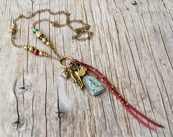 Buddha amulet necklace, crystal point necklace, bohemian, gypsy, yoga jewelry, boho jewelry, Christmas gift , gift for her