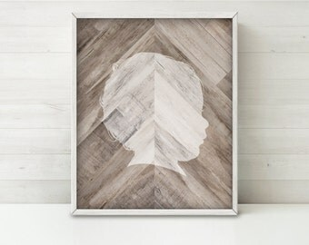 CUSTOM Silhouette Printable Art, Wood Silhouette Nursery Art, Wood Chevron Art, Personalized Gift for Mom Gift for Her, Wood Wall Art Print