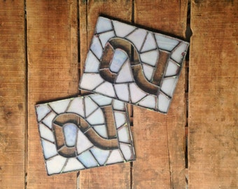 "Antique Stained Glass Window, Number ""2"" Leaded Window, Small Stained Glass Window, 10 x 8, White and Clear Glass, Sold Individually"