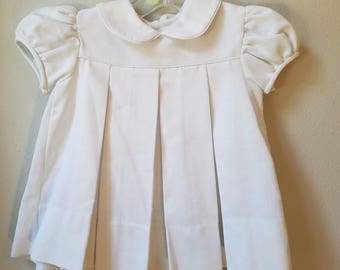 Vintage Girls White Pique Dress with Peter Pan Collar and Pleats- Size 24 Months- New, never worn