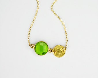 August Birthstone Necklace, Mothers day Necklace, Personalized Necklace, Peridot Necklace Gift daughter Initial Jewelry Custom Name necklace
