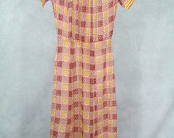 Adoreable 1930s Dress Sheer Swiss Dot Squares in Rust and Yellow XSmall Size
