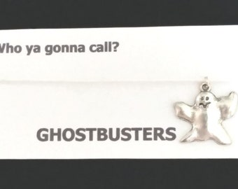 GHOSTBUSTERS themed BRACELET on waxed cotton cord Or Silver Plated Key Ring Or Silver Plated Necklace Or Black Velveteen Choker