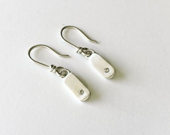 Delicate Minimalist Diamond Earrings - Handmade with Sterling Silver