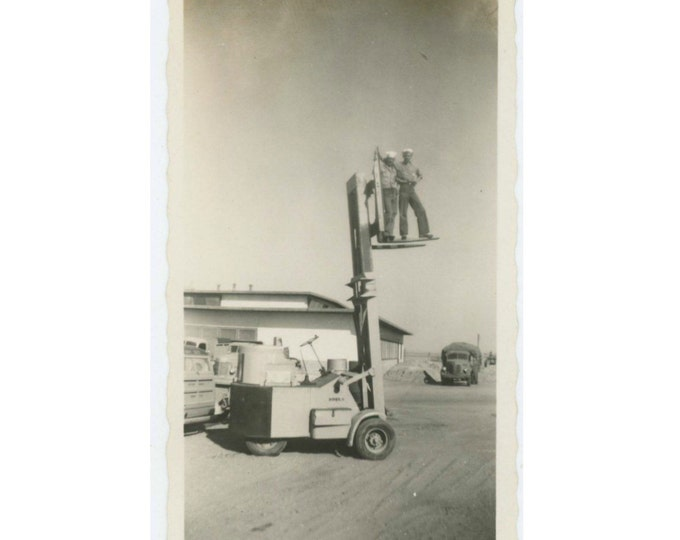 Vintage Snapshot Photo: Sailors on Forklift, c1940s (611516)