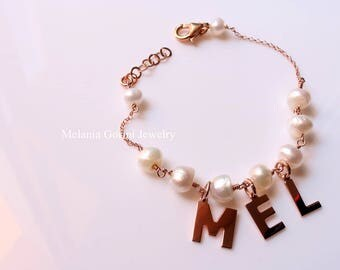 NAME Bracelet, Personalised bracelet with pearls- 925 sterling silver rose gold plated, names or letters, you can choose your favorite name