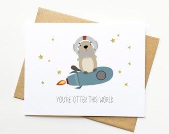 Otter Funny Pun Congrats Illustration Card