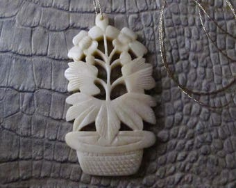 Asian Art Deco Era Carved Potted Lotus Plant Charm Pendant/ Chinese Hand Carved Ex Bone Charms Pendants/ Asian Carvings as Jewelry