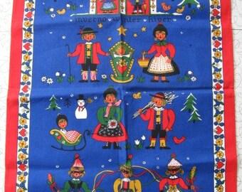 Vintage Linen Towels - Set of 4 Seasons, Folk Art, Winter, Spring, Summer, Autumn, NOS