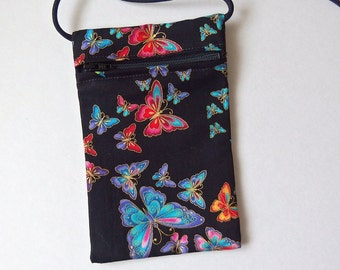 Pouch Zip Bag BUTTERFLY Black Fabric.  Great for walkers markets travel.  Cell Phone Pouch. Small  fabric purse. Evening purse gold accents.