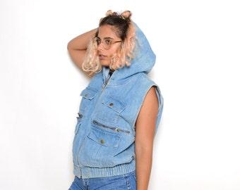 Vintage 90's Grunge Hooded Jean Vest Sz L