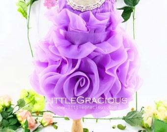 Handmade Infant Pageant Dresses Lavender, Baby Birthday Dress, Flower Girl Dress Tutu, PD070-1