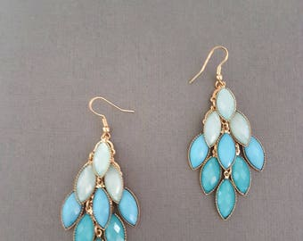 Ethnic Blue Green Faceted Chandelier Earrings, Beaded Earrings, Boho, Dangle, Turquoise, Anthropologie Inspired, Statement, Gypsy, Ombre