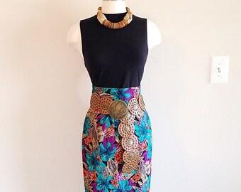 SALE! Vintage 1980s High Waist Tropical Tiki Skirt