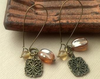 Long Dangle Earrings Boho Chic Casual Rustic Antique Bronze Earth Tones Bohemian Earthtones FREE Shipping Fashion Jewelry PaisleyBeading