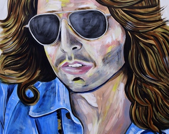 Original large scale painting of Jim Morrison by Natalie Jo Wright.