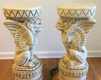 WINGED LION PEDESTAL, Lion, Gargolye, 1980s, Art Display, Table Base, Plant Display, Hollywood Regency, Italian Decor at Ageless Alchemy