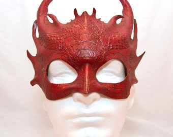 Scarlet Red Leather Dragon Smaug Inspired Cosplay Masquerade Mask