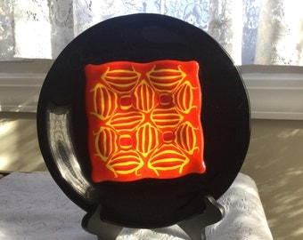 Fused Glass Pattern Bar Plate, Red Orange Yellow Art Glass Plate