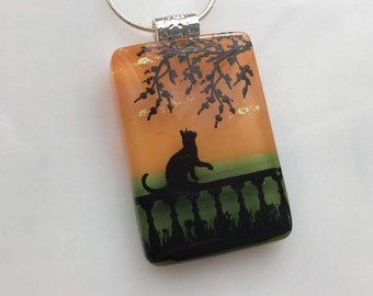 Cat Necklace, Fused Glass Jewelry, Cat on Fence Pendant