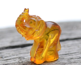 Handmade Amber Elephant - Collectible Amber Carving - Genuine Baltic Amber