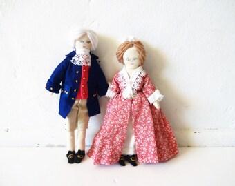 Vintage George and Martha Washington Handmade Dolls