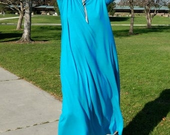 Turquoise Maxi Dress, Three Quarter Sleeve Swing Dress, Scoop Neck Knit Dress, Jersey Caftan ~ All Sizes / Colors