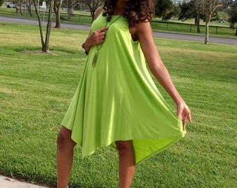 Knit Tank Dress, Lime green Sleeveless Dress, Asymmetrical Tank Dress, Scoop Neck Swing Dress ~ XS To 4X