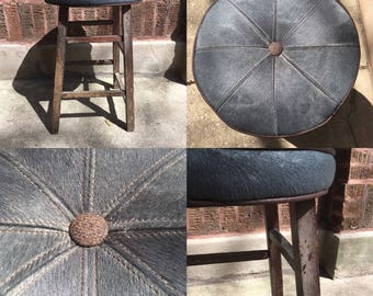 Silver/Gray Hair-on-Hide/Leather/Wool-Topped Rustic Wood Stool.  Handcrafted, Topstitched.