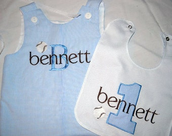 Custom made Personalized Monogrammed Baseball Jon Jon and Bib set, Light Blue Gingham